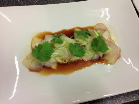 sashimi på hälleflundra