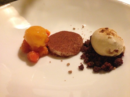Blåhammaren sep 2014_ hjortronsorbe sötost getmeseglass på saltchoklad smul