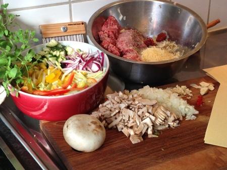 öppen lasagne med biff ingredienser